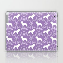 French Bulldog floral minimal purple and white pet silhouette frenchie pattern Laptop & iPad Skin