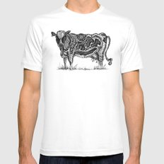 Cow MEDIUM Mens Fitted Tee White