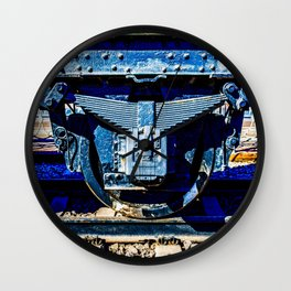 Black Wheel Of a Vintage Steam Train Car Wall Clock