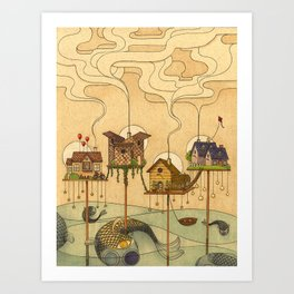 Sea Houses Art Print