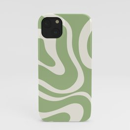 Modern Liquid Swirl Abstract Pattern in Light Sage Green and Cream iPhone Case