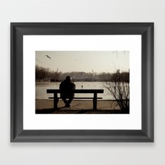 Man in the park. Budapest Framed Art Print
