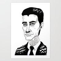 dale cooper Art Prints featuring Cooper by Simone Bellenoit : Art & Illustration