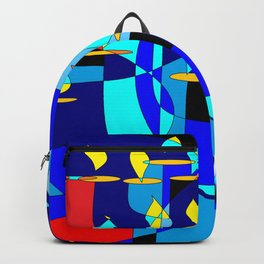 A Community Chanukah (Hanukkah) in Blue Tones with Red Backpack