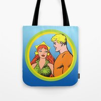 aquaman Tote Bags featuring Aquaman and Mera Get Married Underwater by Hoboxia
