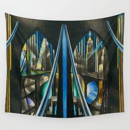 Brooklyn Bridge, New York City Skyline Art Deco landscape painting by Joseph Stella Wall Tapestry