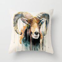 ram Throw Pillows featuring Ram by Slaveika Aladjova