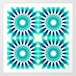 Pinwheel Flowers Turquoise Teal Watercolor Art Print
