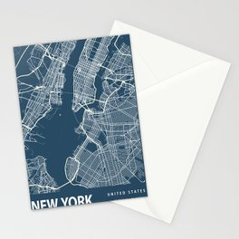 New York Blueprint Street Map, New York Colour Map Prints Stationery Cards
