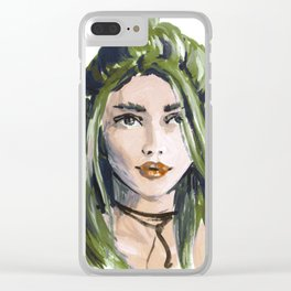 Green hair girl Clear iPhone Case