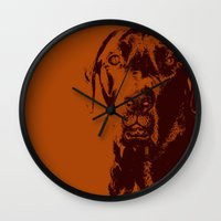 the dude Wall Clocks featuring Dude by Brooke Copani