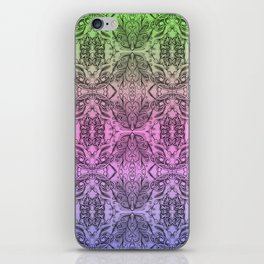 Colorful Gradient Floral Doodle Pattern 2 iPhone Skin