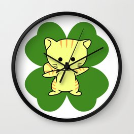 Cat On Four Leaf Clover - St. Patricks Day Funny Wall Clock