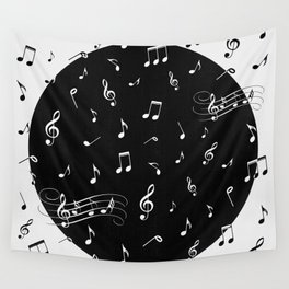 Music White and Black Wall Tapestry
