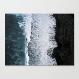Aerial of a Black Sand Beach with Waves - Oceanscape Canvas Print
