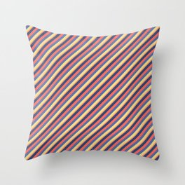 Summer Bright Colors Inclined Stripes Throw Pillow