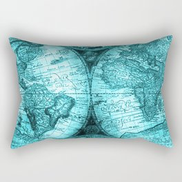 Turquoise Antique World Map Rectangular Pillow