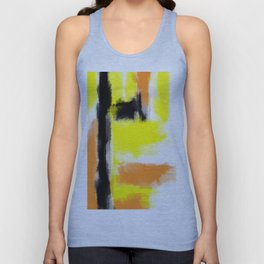 orange yellow and black painting abstract with white background Unisex Tank Top