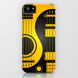 Yellow and Black Acoustic Electric Yin Yang Guitars iPhone Case