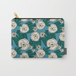 Garden Rose - Blue Carry-All Pouch