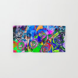 rose texture pattern abstract with splash painting in blue green pink red orange yellow Hand & Bath Towel