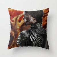 katniss Throw Pillows featuring Katniss by MetaWorks
