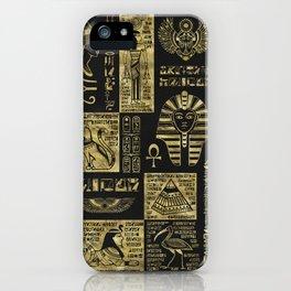 Egyptian  hieroglyphs and symbols gold on black leather iPhone Case