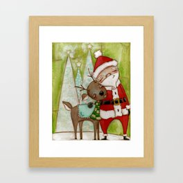 Travelin' Buddies - Santa and his reindeer friend by Diane Duda Framed Art Print