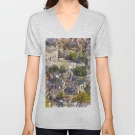 Rock Village of Kayakoy AKA Levissi Pencil Sketch Unisex V-Neck