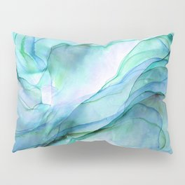 Aqua Turquoise Teal Abstract Ink Painting Pillow Sham
