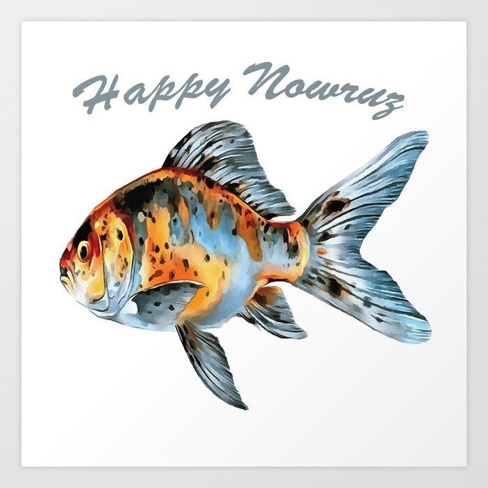 Happy Nowruz Shubunkin Goldfish Persian New Year Kunstdrucke