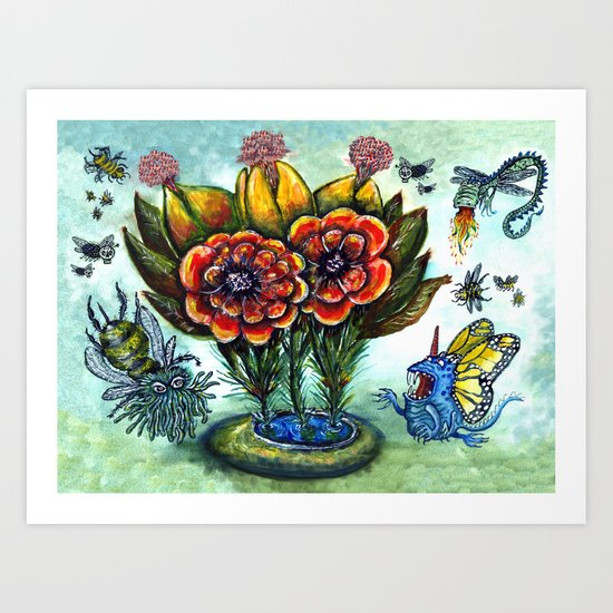Surreal watercolor flowers and bugs Art Print