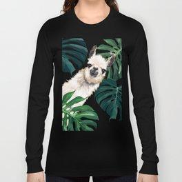 Sneaky Llama with Monstera Long Sleeve T-shirt