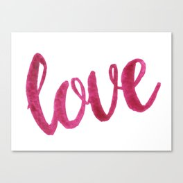 Love Script Watercolor Canvas Print