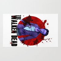 christopher walken Area & Throw Rugs featuring The Walken Dead – The Walking Dead Parody – Christopher Walken Zombie by ptelling
