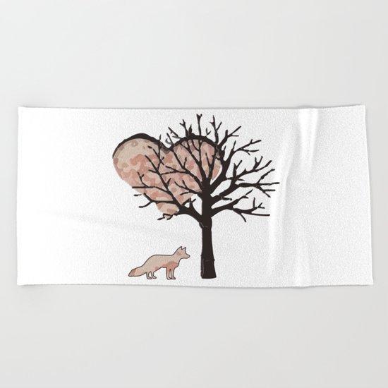 Fox In Love Beach Towel