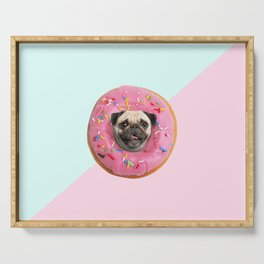 Pug Strawberry Donut Serving Tray