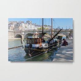 Old barge near the Pont Neuf - Paris Metal Print