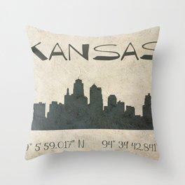 Kansas City Skyline GPS Coordinates Throw Pillow
