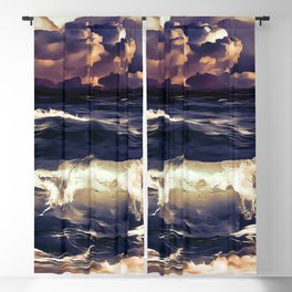 stormy sea waves reacls Blackout Curtain