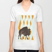 buffalo V-neck T-shirts featuring Buffalo by Wood Grian & Grits