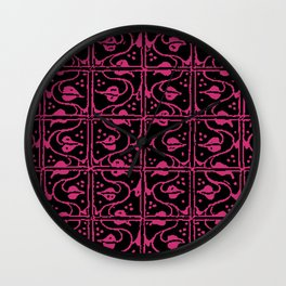 Vintage Leaf and Vines Pink Yarrow Wall Clock