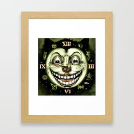 Black Cat 13 Halloween Clock Framed Art Print