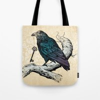 key Tote Bags featuring Raven's Key by Rachel Caldwell