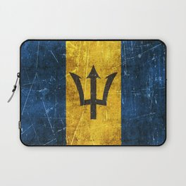 Vintage Aged and Scratched Barbados Flag Laptop Sleeve