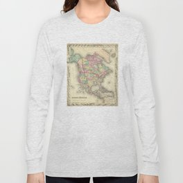 Vintage Map of North America (1856) Long Sleeve T-shirt