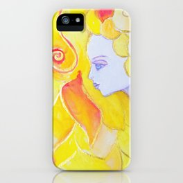 Lady Autumn Watercolor Art Nouveau Gold iPhone Case