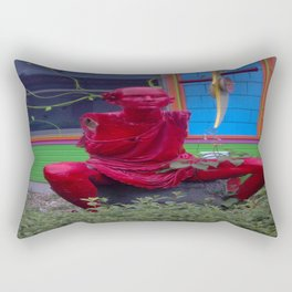 Red Statue Rectangular Pillow