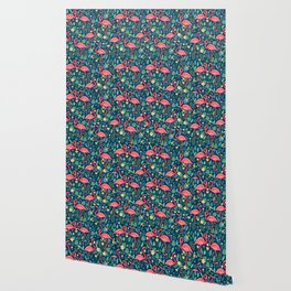 Flamingo Blue Pattern Wallpaper