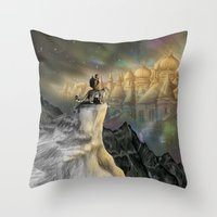 northern lights Throw Pillows featuring Northern Lights by Lyndsey Green Illustration